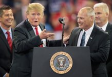 President Donald Trump and Pete Stauber, then a Republican candiate for the US House