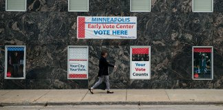 Early Voting signs on a building in downtown Minnesota
