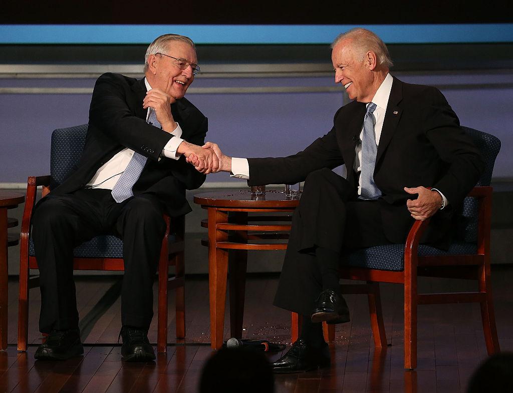 Former Vice President Walter Mondale with then-Vice President Joe Biden