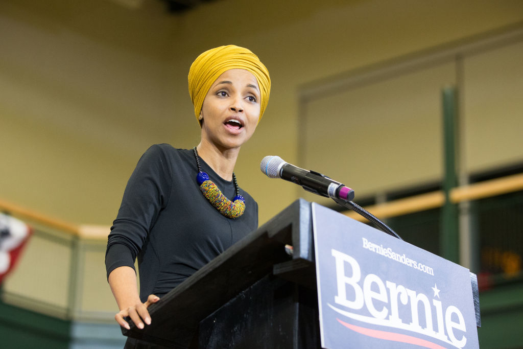 Rep. Ilhan Omar (D-MN) campaigning for Bernie Sanders