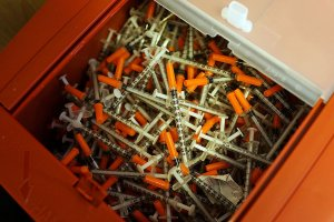 Used syringes at a needle exchange clinic