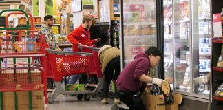 target employees stock shelves
