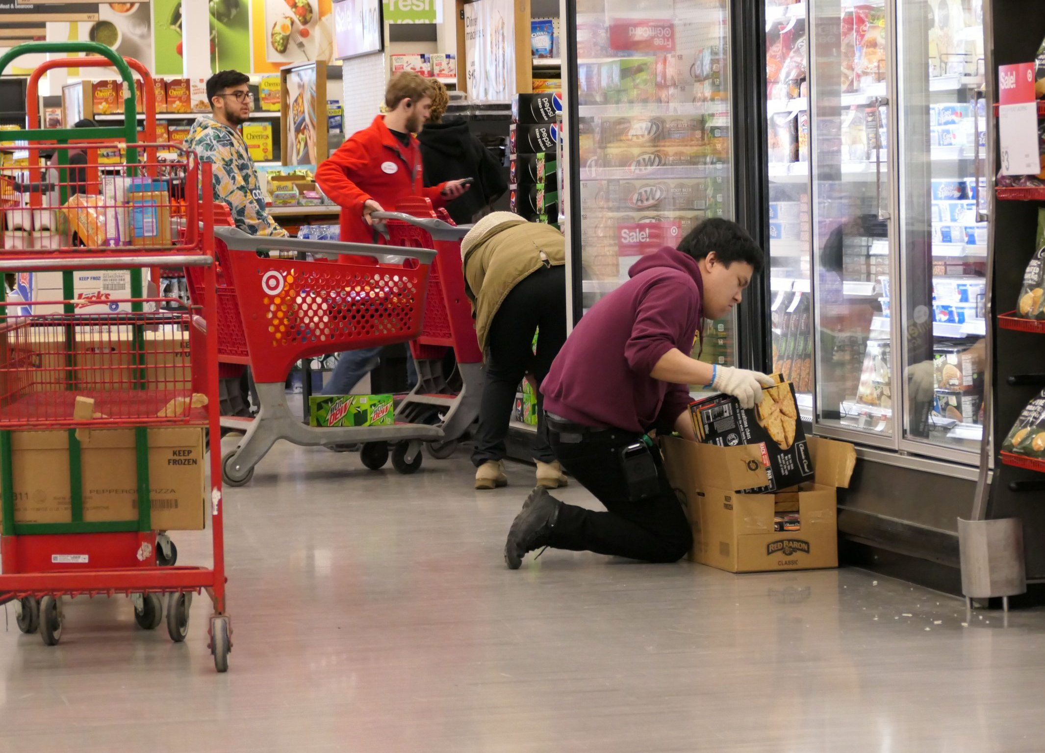 target employees stock shelves