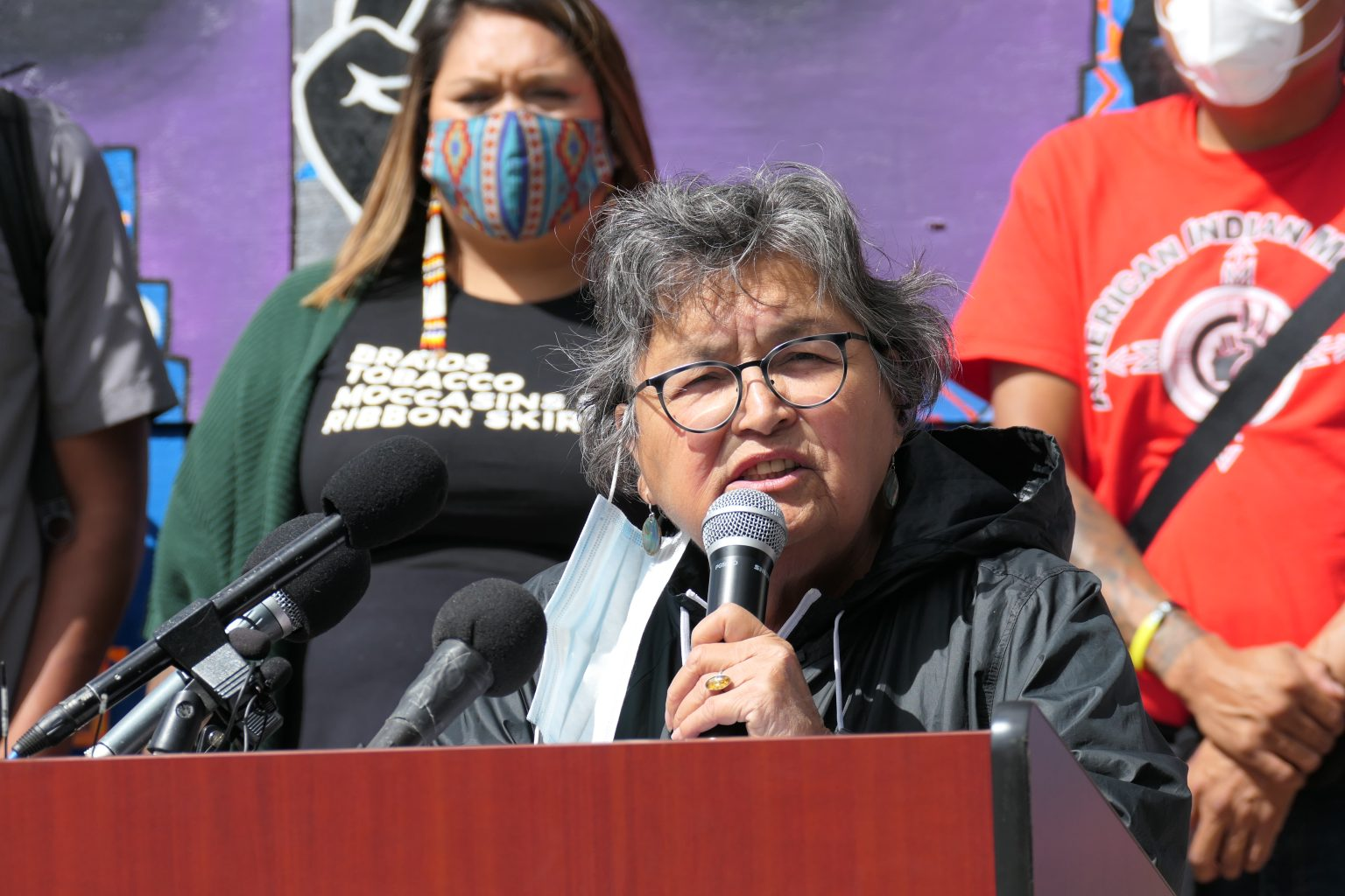 An image of Sharon Day speaking at a press conference Setpember 3. Photo by Max Nesterak/Minnesota Reformer